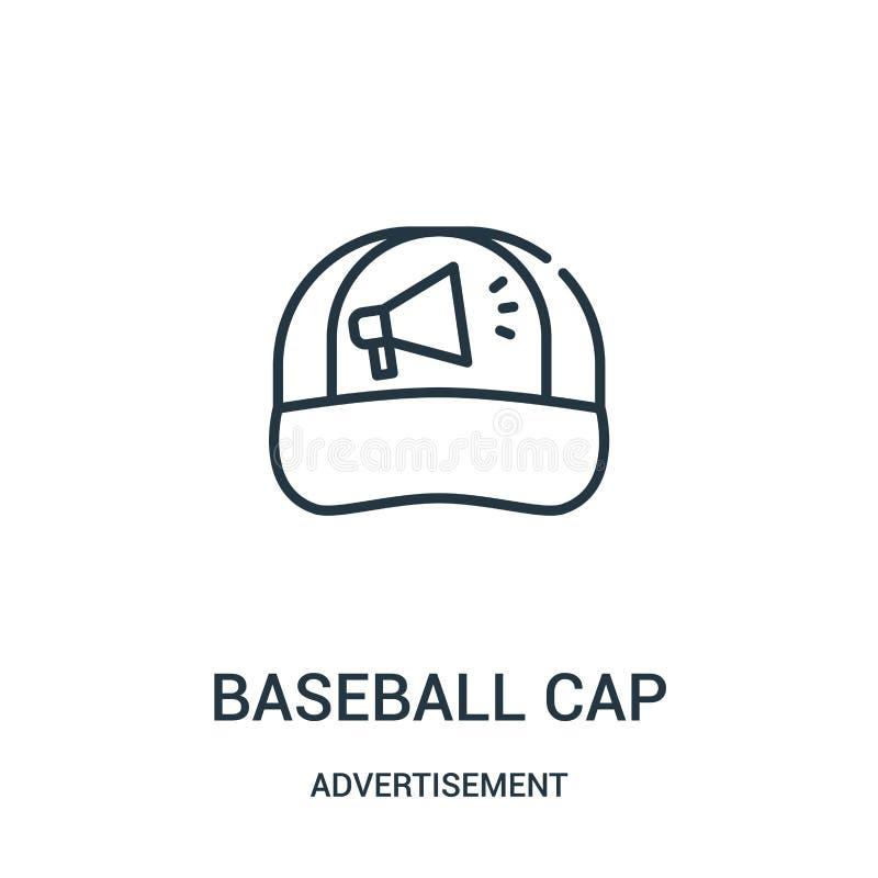 棒球帽从广告汇集的象传染媒介 稀薄的线棒球帽概述象传染媒介例证 向量例证