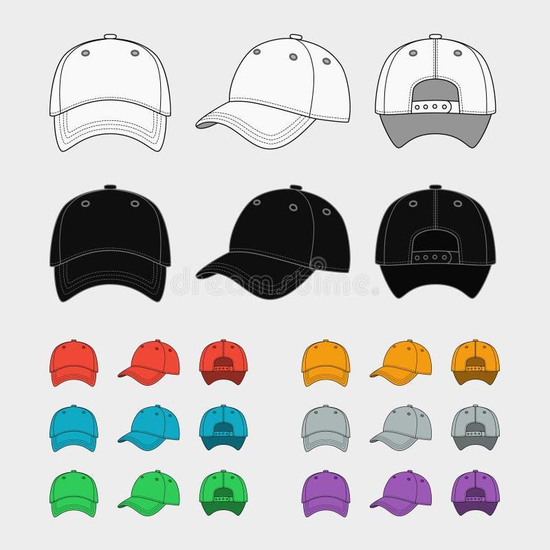 棒球帽传染媒介模板 库存例证