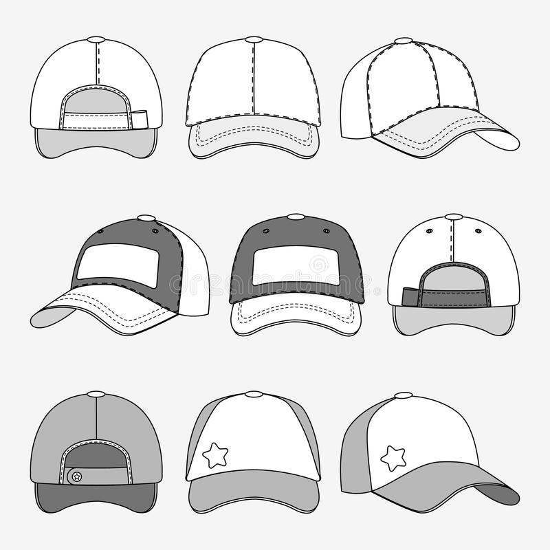 棒球帽前面后面和侧视图概述传染媒介模板 向量例证