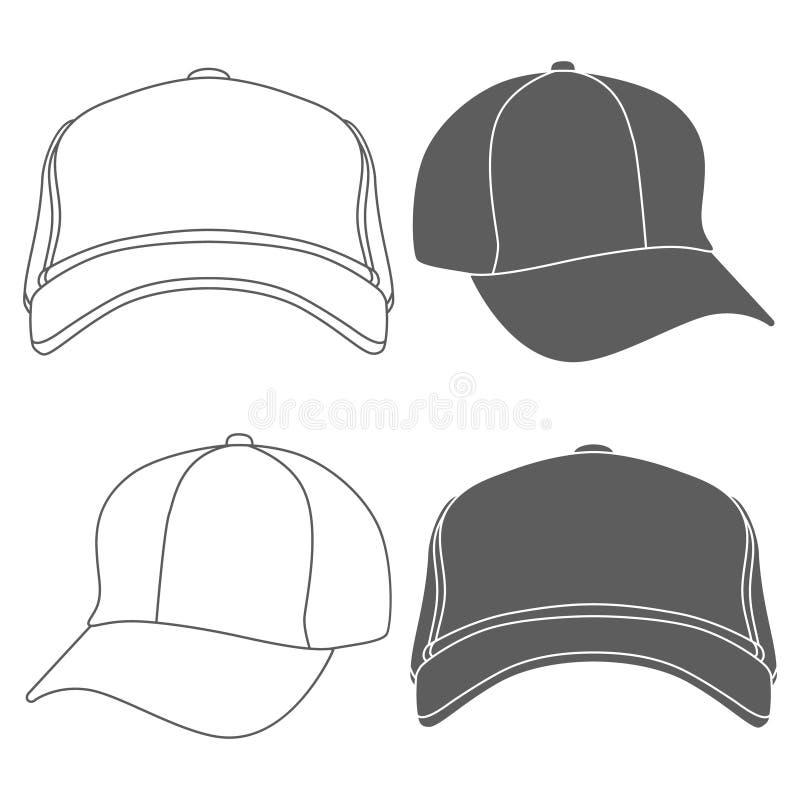 棒球帽概述在白色隔绝的剪影模板 向量 库存例证