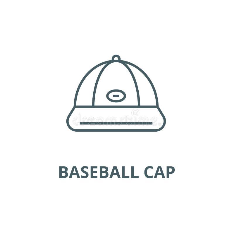 棒球帽线象,传染媒介 棒球帽概述标志,概念标志,平的例证 向量例证