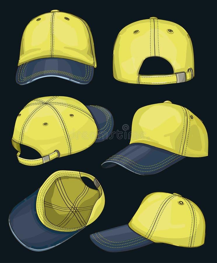 棒球帽集合 向量例证