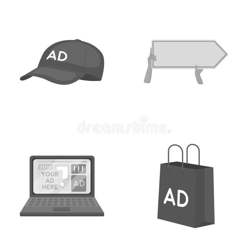 棒球帽,尖在手上,膝上型计算机,购物袋 做广告,设置在单色样式传染媒介标志的汇集象 皇族释放例证