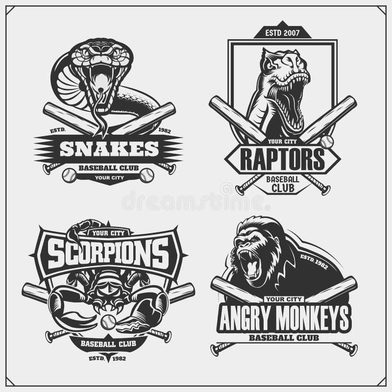 棒球徽章、标签和设计元素 体育俱乐部象征与狮子、眼镜蛇、猛禽恐龙和蝎子 向量例证