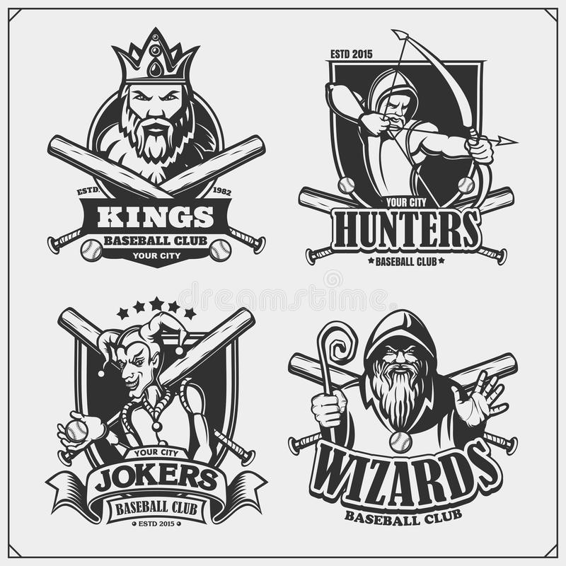 棒球徽章、标签和设计元素 体育俱乐部象征与猎人、巫术师、国王和说笑话者 T恤杉的印刷品设计 库存例证