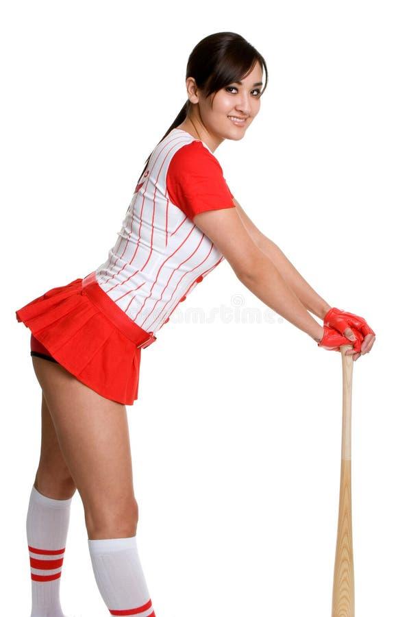 棒球性感的妇女 免版税图库摄影