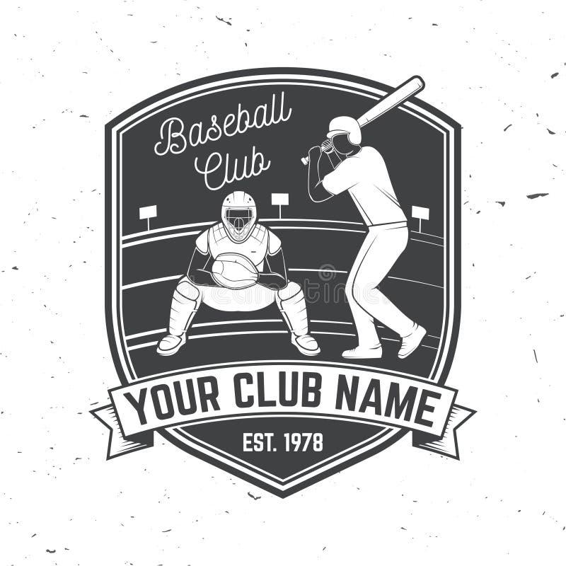棒球或垒球俱乐部徽章 也corel凹道例证向量 衬衣的概念或商标、印刷品、邮票或者发球区域 皇族释放例证