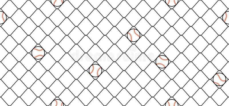 棒球无缝的样式传染媒介体育铁丝网链节篱芭围巾被隔绝的重复墙纸瓦片背景 向量例证