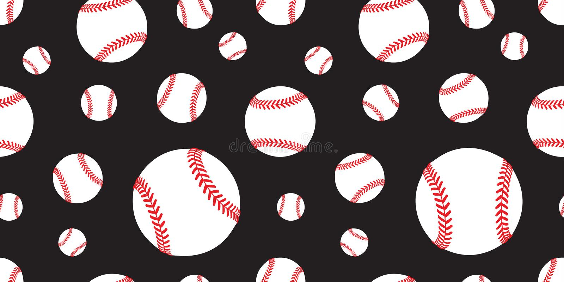 棒球无缝的样式传染媒介网球瓦片背景重复墙纸围巾隔绝了图表黑色 库存例证