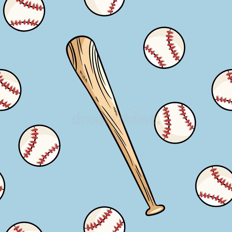 棒球球和击无缝的样式 逗人喜爱的乱画手拉的乱画背景纹理瓦片 皇族释放例证