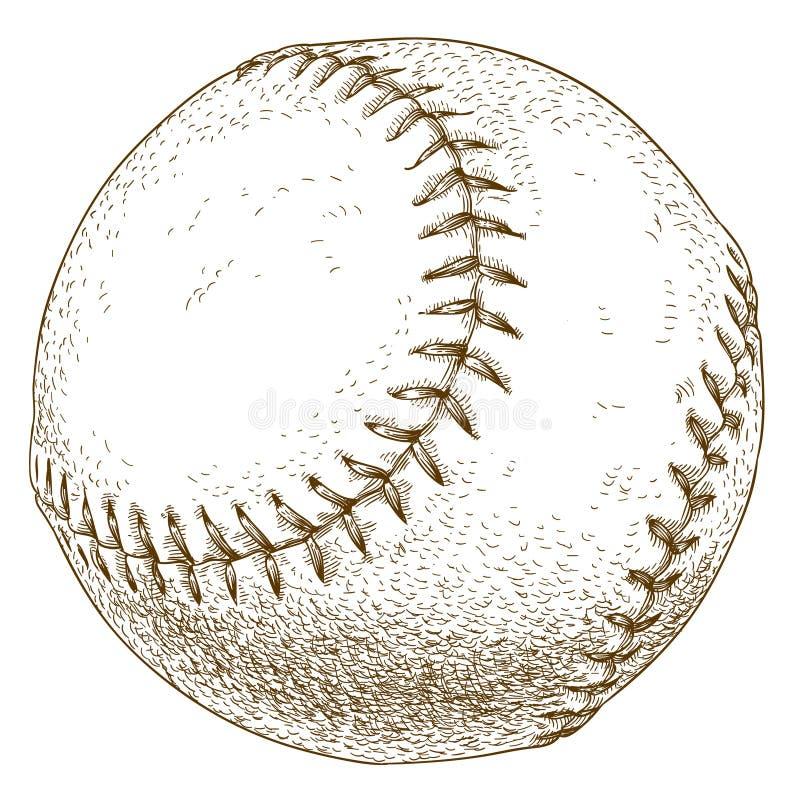 棒球球的板刻例证 库存照片