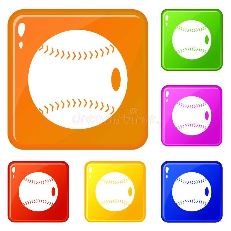 棒球球象集合传染媒介颜色 库存例证