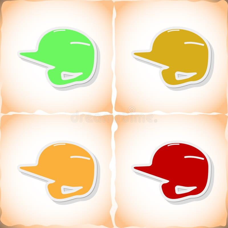 棒球盔甲 与阴影的平的贴纸在老纸 向量例证
