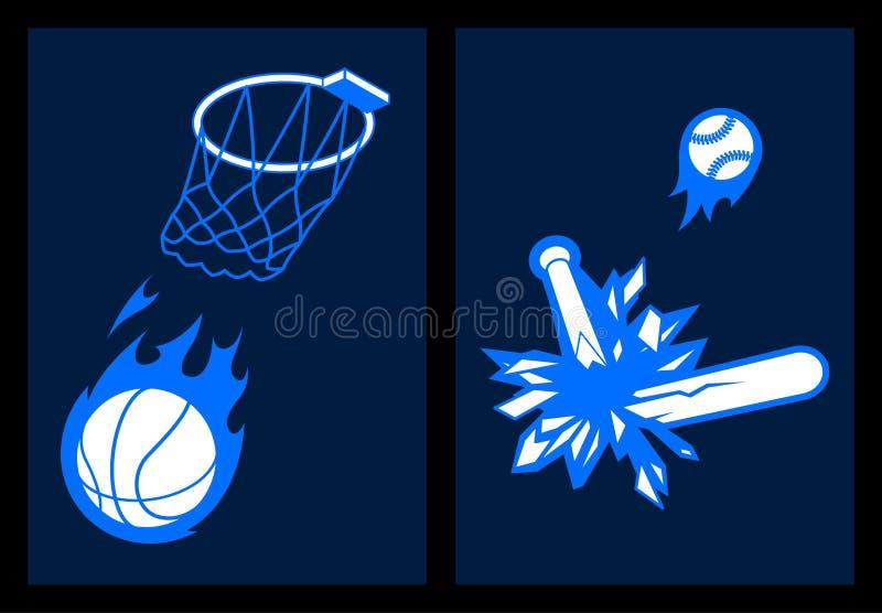 棒球篮球扣篮全垒打 向量例证