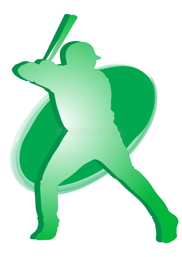 棒球绿色图标球员 皇族释放例证
