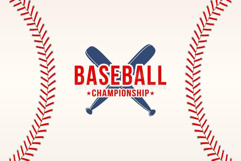 棒球背景 棒球球系带,缝与棒的纹理 向量例证
