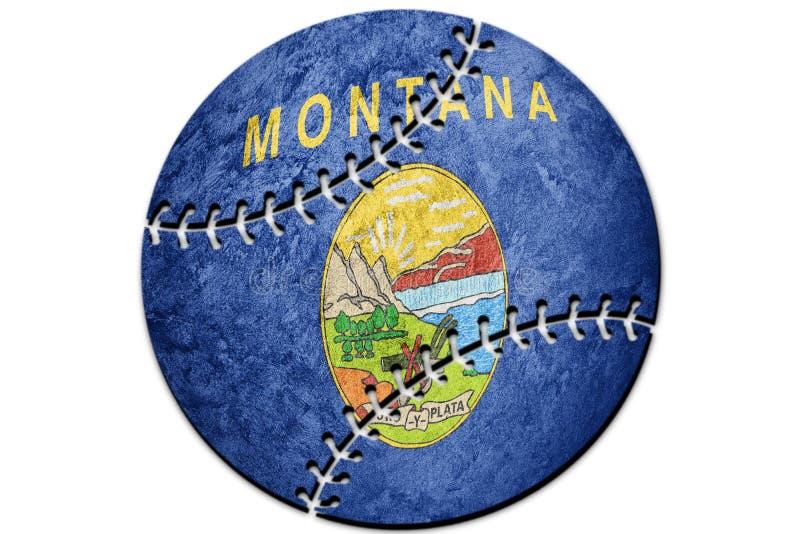 棒球蒙大拿状态旗子 蒙大拿旗子背景棒球 皇族释放例证