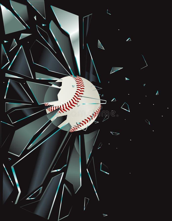 棒球被中断的玻璃 向量例证