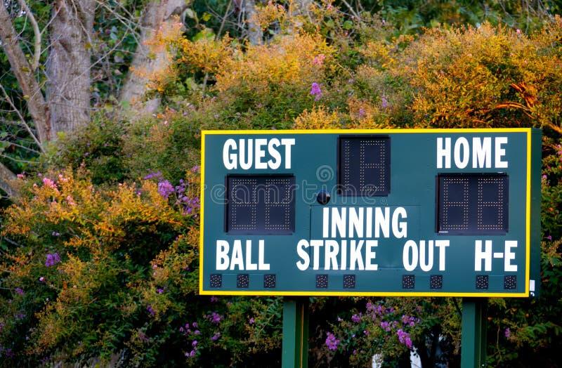 棒球记分牌 免版税图库摄影