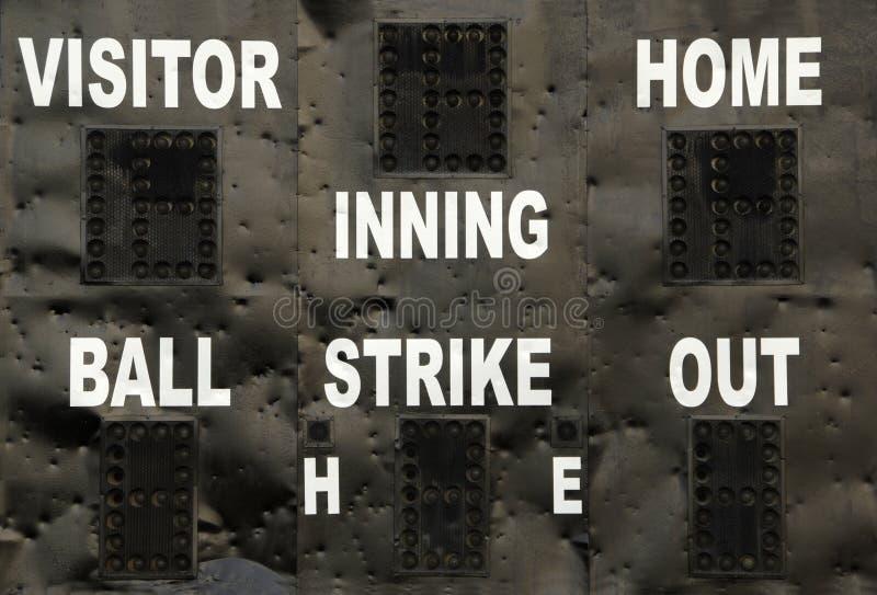 棒球记分牌 免版税库存图片