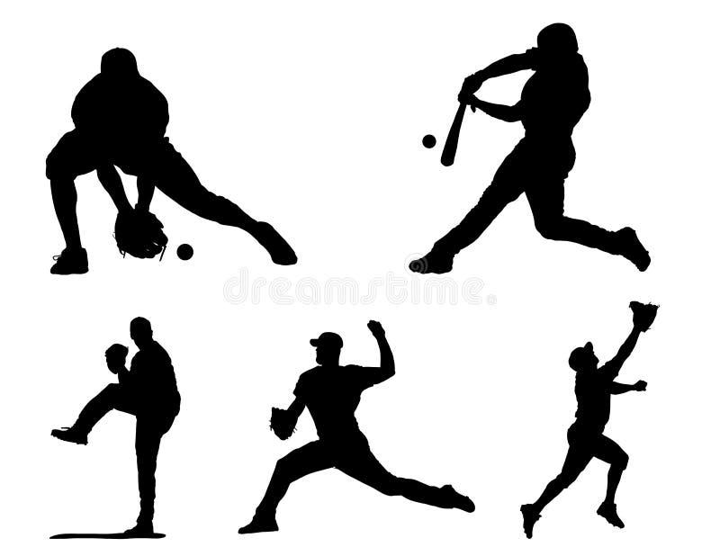 棒球运动员剪影/象 皇族释放例证