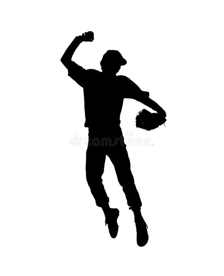 棒球运动员剪影 免版税库存照片