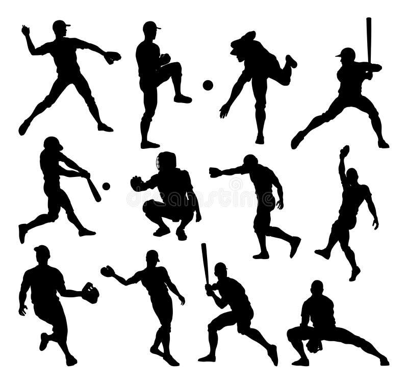 棒球运动员剪影 向量例证