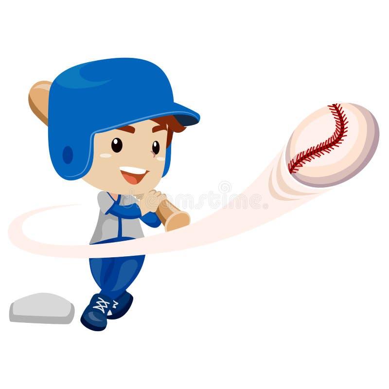 棒球运动员孩子男孩击中了球 向量例证