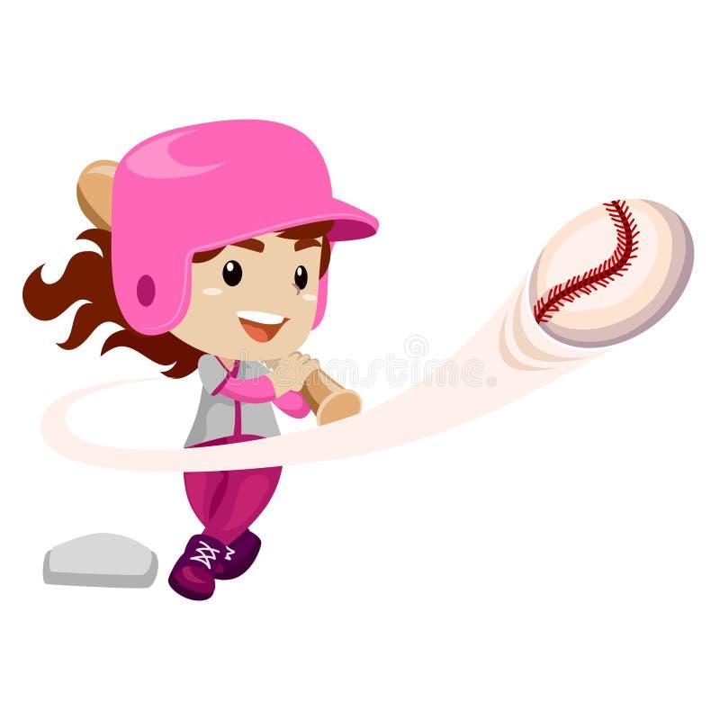 棒球运动员击中了球 向量例证