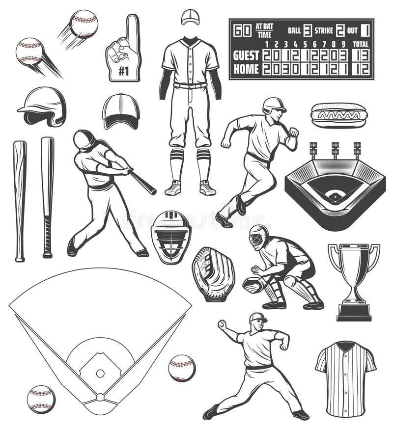 棒球运动器材和球员成套装备象 皇族释放例证