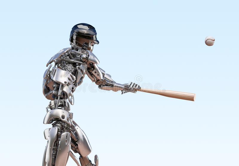 棒球选手机器人 人和靠机械装置维持生命的人机器人综合化概念 机器人技术3D例证 向量例证