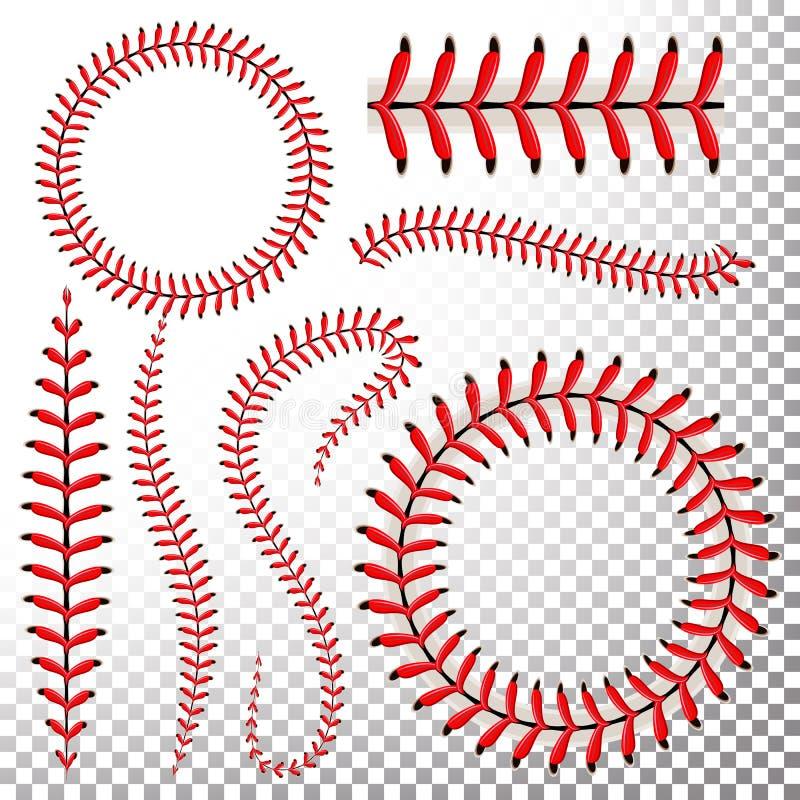 棒球针传染媒介集合 在透明背景隔绝的棒球红色鞋带 缝棒球球,红色螺纹Illustr缝  库存照片