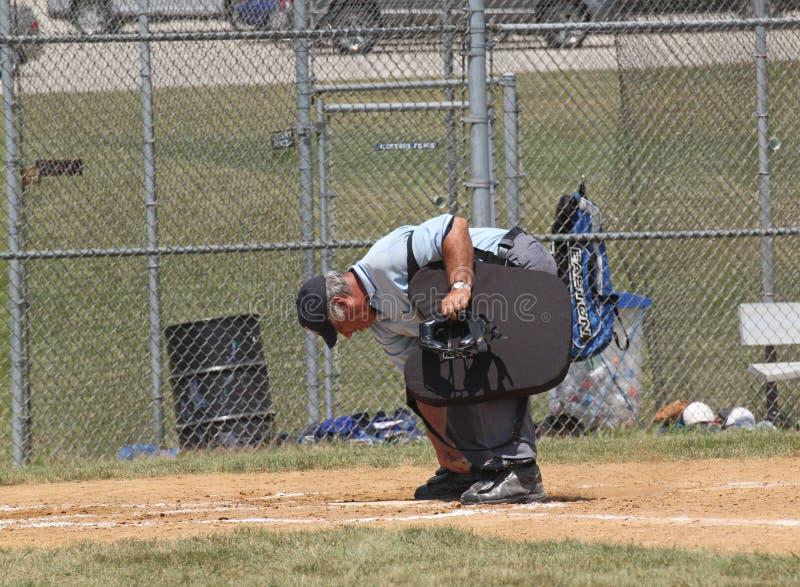 棒球高中审判员 免版税库存图片