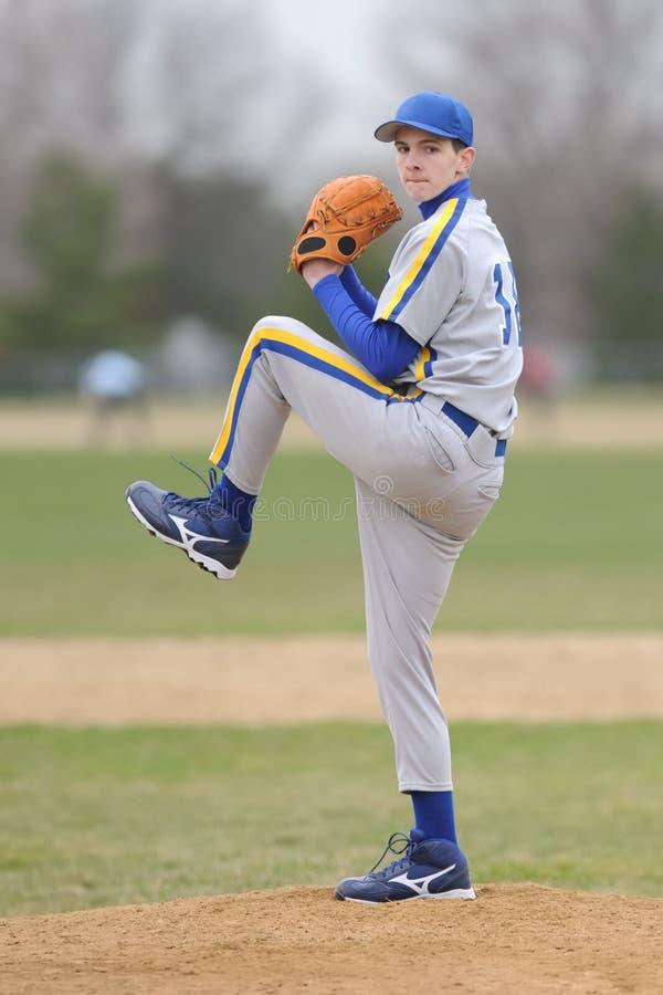 棒球高投手学校 库存照片