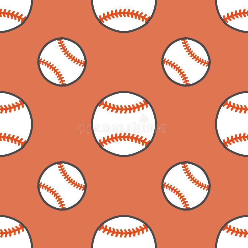 棒球,垒球体育比赛传染媒介无缝的样式,与线球象的背景  线性标志为 库存例证