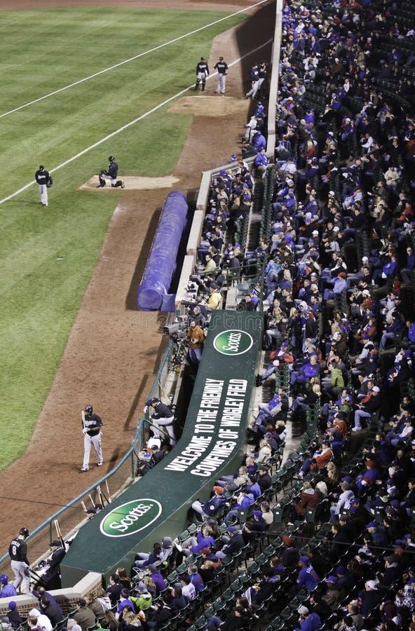 棒球-里格利的域风扇,牛栏 库存照片