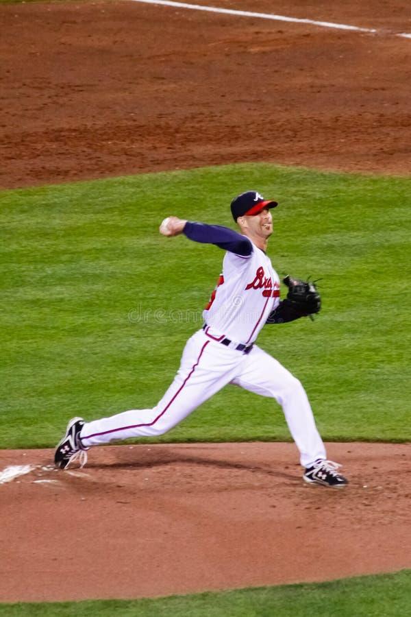 棒球- Braves投手Tim ・哈德森 库存图片