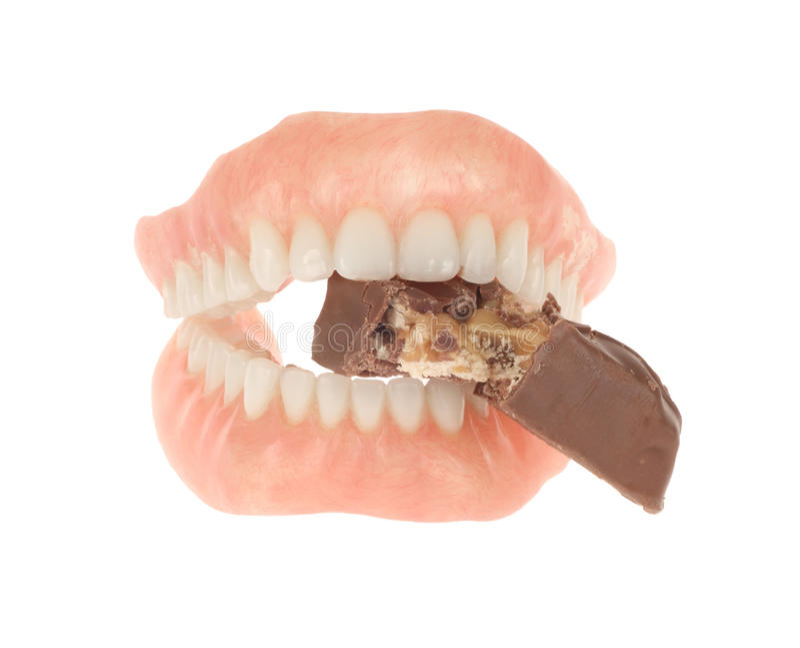 棒糖果假牙吃 库存图片
