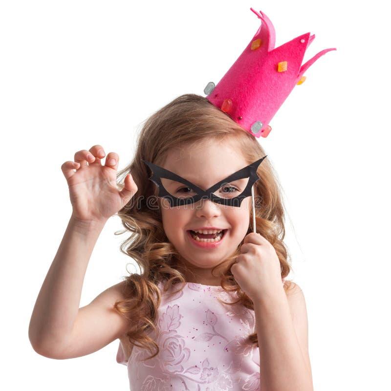 棒面具的小女孩 免版税库存照片