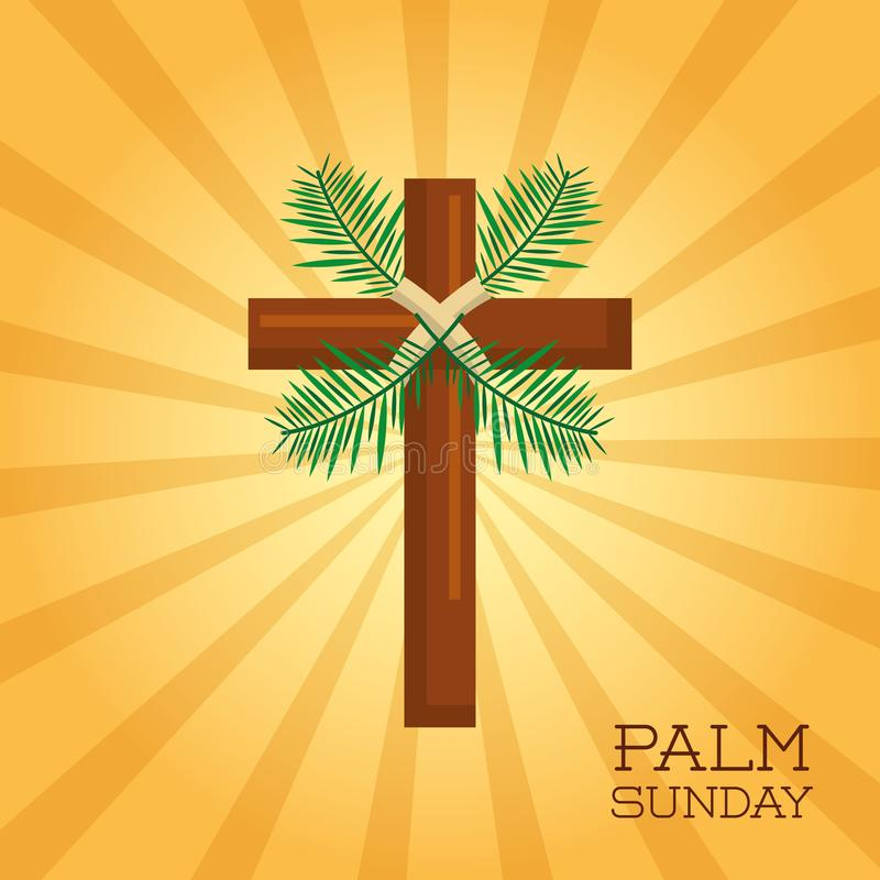 棕枝全日十字架卡片庆祝基督教 皇族释放例证