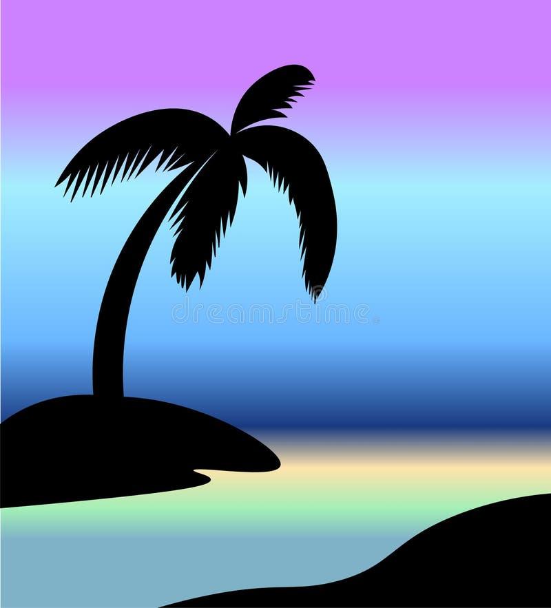棕榈剪影在海滩的 皇族释放例证