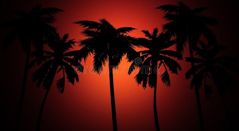 棕榈剪影,在日落背景 库存例证