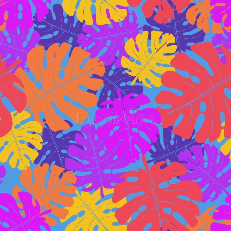 棕榈叶和热带植物的传染媒介无缝的霓虹样式 向量例证