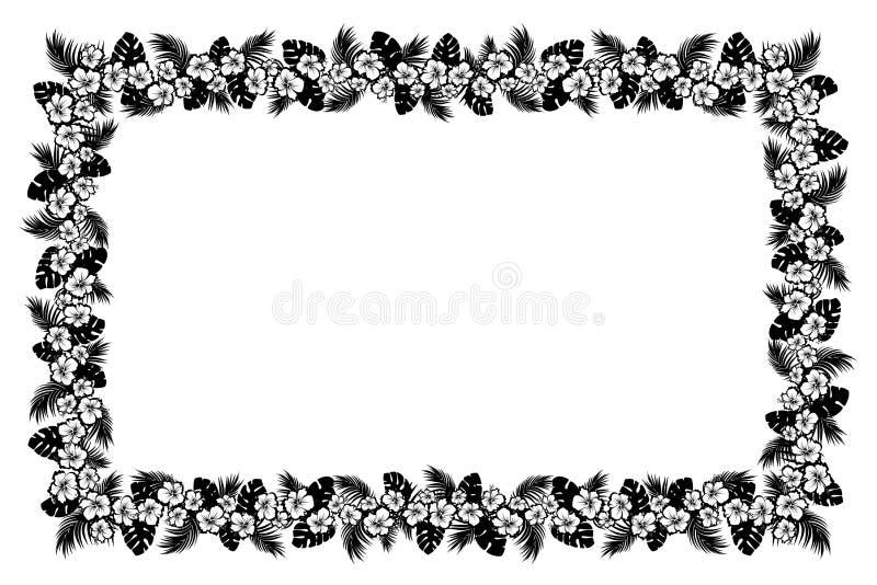 棕榈叶和热带花 黑剪影框架 库存例证