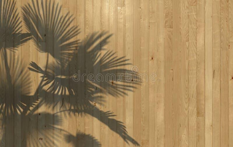 棕榈叶投下了在木墙壁铣板的阴影 与拷贝空间的概念性创造性的例证 3d?? 库存例证