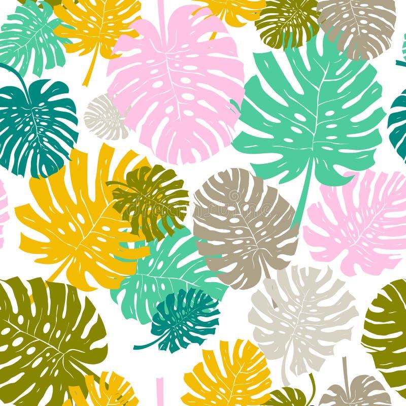 棕榈叶无缝的背景 Monstera叶子样式 平的设计 也corel凹道例证向量 背景查出的白色 免版税库存图片