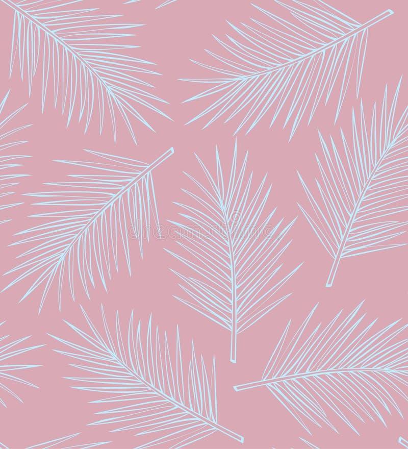 棕榈叶热带无缝的样式 皇族释放例证