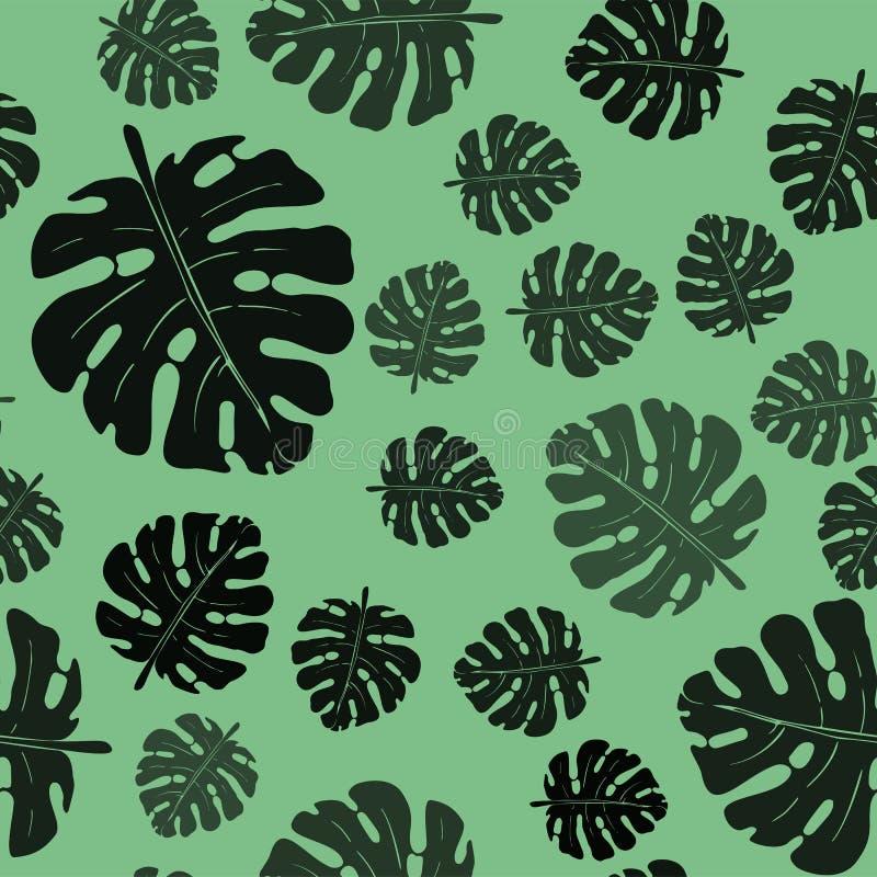 棕榈叶的传染媒介无缝的单色样式 向量例证