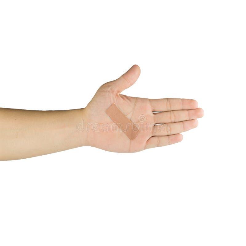 棕榈和手指有黏着性绷带的,隔绝在白色backgr 免版税库存照片