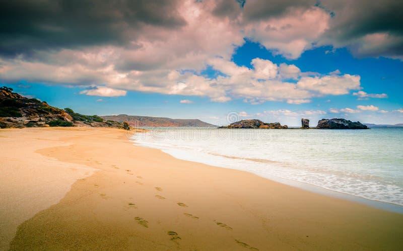 棕榈树、绿松石水和热带海滩, Vai,克利特风景风景  免版税库存照片